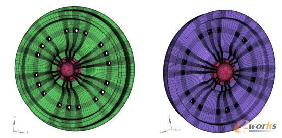 新轮有限元模型(左)、磨耗轮有限元模型(右)