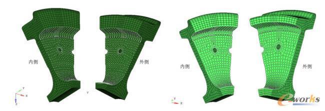 新轮-车轮辐板疲劳强度考核位置图(左)、磨耗到限车轮-辐板疲劳强度考核位置图(右)